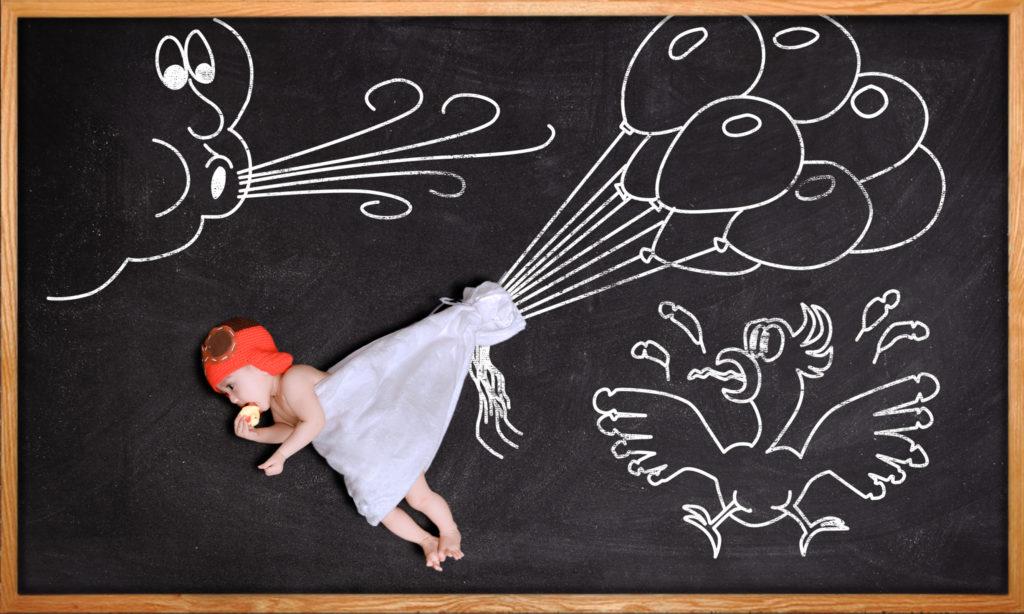 Album chụp ảnh cho bé concept vẽ phấn